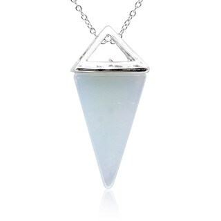 Sterling Silver Created Opal Geo Prism Necklace, 18 Inches