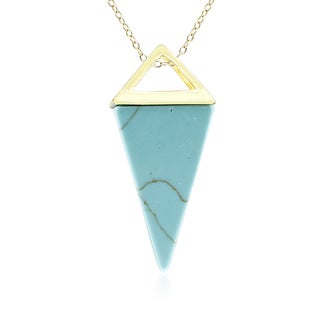Yellow Gold Turquoise Geo Prism Necklace, 18 Inches