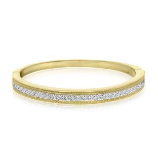 Important Diamond Bangle Bracelet In Gold Over Brass (1/20cttw)