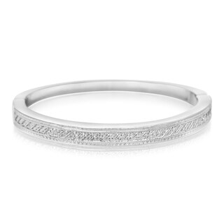 Important Diamond Bangle Bracelet In Platinum Over Brass (1/20cttw)