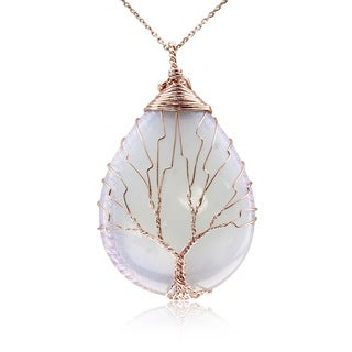 Rose Gold Over Sterling Silver Tree of Life Wire Wrapped Opal Teardrop Necklace, 18 Inches