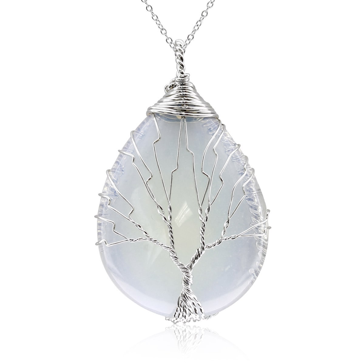 Sterling Silver Tree of Life Wire Wrapped Opal Teardrop N...