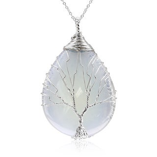 Sterling Silver Tree of Life Wire Wrapped Opal Teardrop Necklace, 18 Inches (Option: Opal)