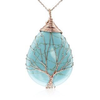 Rose Gold Over Sterling Silver Tree of Life Wire Wrapped Turquoise Teardrop Necklace, 18 Inches