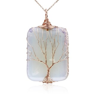 Rose Gold Over Sterling Silver Tree of Life Wire Wrapped Opal Necklace, 18 Inches