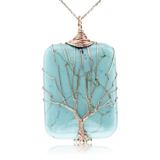 Rose Gold Tree of Life Wire Wrapped Turquoise Necklace, 18 Inches