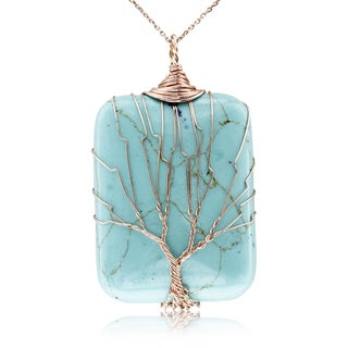 Rose Gold Over Sterling Silver Tree of Life Wire Wrapped Turquoise Necklace, 18 Inches