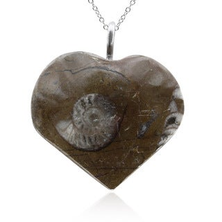 Natural Ammonite Fossil Heart Necklace With Sterling Silver Chain, 18 Inches