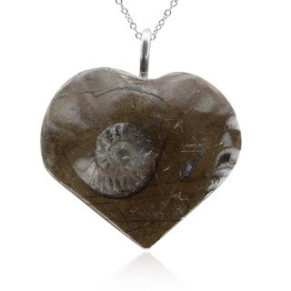 Natural Ammonite Fossil Heart Necklace With Sterling Silver Chain, 18 Inches - Black