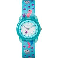 Timex Girl's Time Machines Analog Teal Sea Elastic Fabric Strap Watch