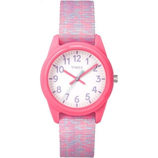 Timex Girl's Time Machines Analog Resin Pink/White Sport Elastic Fabric Strap Watch
