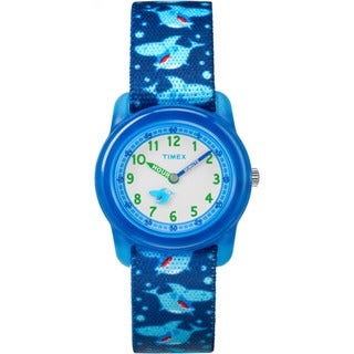 Timex Boys' TW7C13500 Time Machines Blue Sharks Elastic Fabric Strap Analog Watch