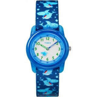 Timex Boys' TW7C13500 Time Machines Blue Sharks Elastic Fabric Strap Analog Watch