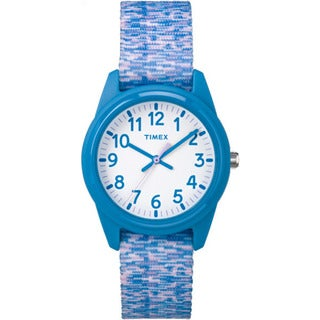 Timex Girls' Time Machines Analog Blue/ Purple/ White Resin Sport Elastic Fabric Strap Watch