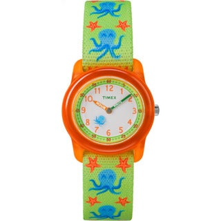 Timex Boys TW7C13400 Time Machines Analog Octopus Elastic Fabric Strap Watch (Option: Green)