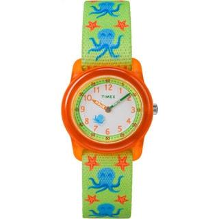 Timex Boys TW7C13400 Time Machines Analog Octopus Elastic Fabric Strap Watch