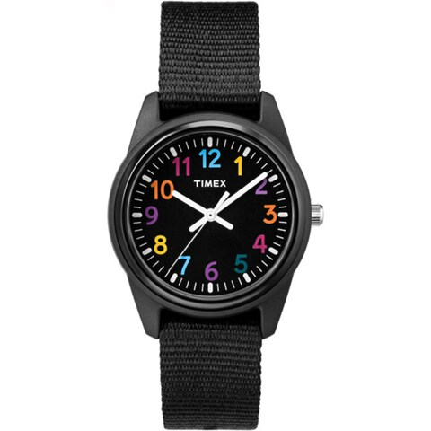 Timex Girls TW7C10400 Time Machines Black Nylon Strap Watch