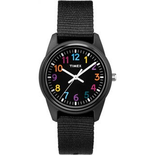 Timex Girls' Time Machines Analog Black Resin Elastic Fabric Strap Watch