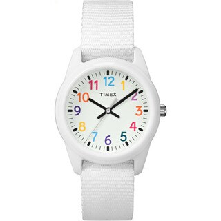 Timex Girls' Time Machines Analog Resin White Elastic Fabric Strap Watch