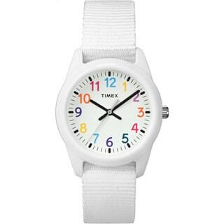 Timex Girls' Time Machines Analog Resin White Elastic Fabric Strap Watch