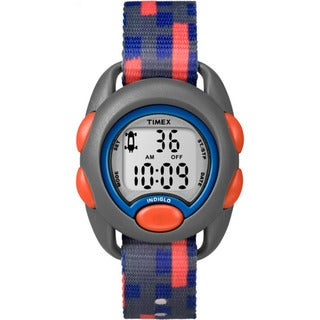 Timex Boy's TW7C12900 Time Machines Digital Gray, Blue, Red Fabric Strap Watch