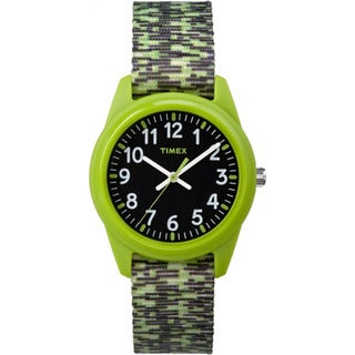 Timex Boys' TW7C11900 Time Machines Resin Green/Black Sport Elastic Fabric Strap Analog Watch