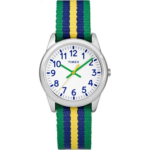 Timex Boys Time Machines Metal Green/Blue/Yellow Stripes Elastic Fabric Strap Analog Watch