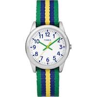 Timex Boys Time Machines Metal Green/Blue/Yellow Stripes Elastic Fabric Strap Analog Watch