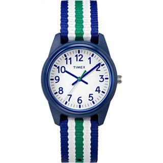 Timex Boys TW7C10000 Time Machines Analog Resin Blue/Green/White Stripes Elastic Fabric Strap Watch