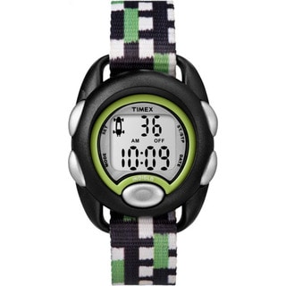 Timex Kids TW7C13000 Time Machines Boy's Black and Green Stainless Steel and Fabric Digital Watch