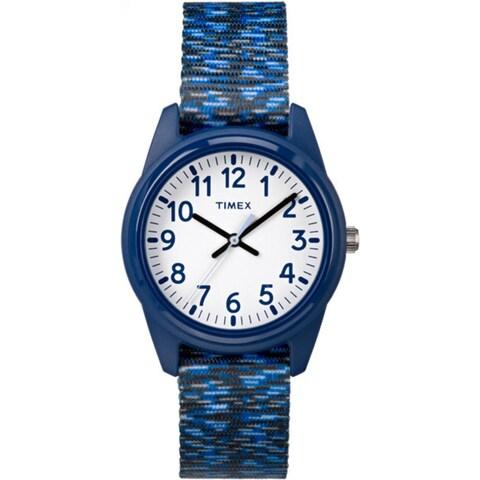 Timex Boys' TW7C12000 Time Machines Resin Dark Blue/White Sport Elastic Fabric Strap Analog Watch