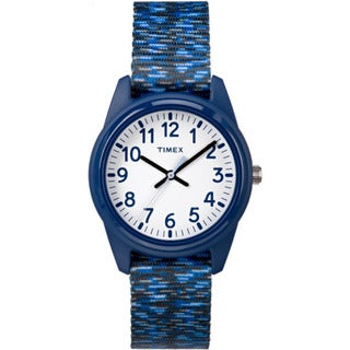 Timex Boys' TW7C12000 Time Machines Resin Dark Blue/White Sport Elastic Fabric Strap Analog Watch