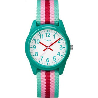 Timex Girls' TW7C09800 Time Machines Resin Teal/Pink Stripes Elastic Fabric Strap Analog Watch