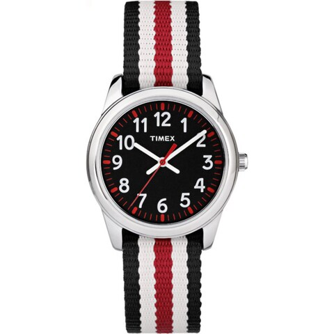 Timex Boys TW7C10200 Time Machines Metal Black/Red Stripes Nylon Strap Watch