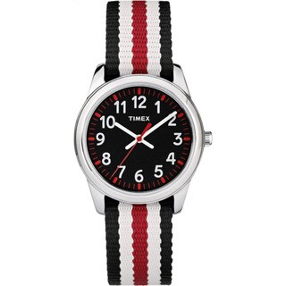 Timex Boys' TW7C10200 Time Machines Metal Black and Red Stripes Elastic Fabric Strap Analog Watch