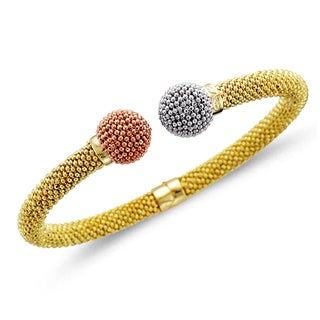 Unending Love Pink-, White-, and Yellow-plated Sterling Silver Bangle