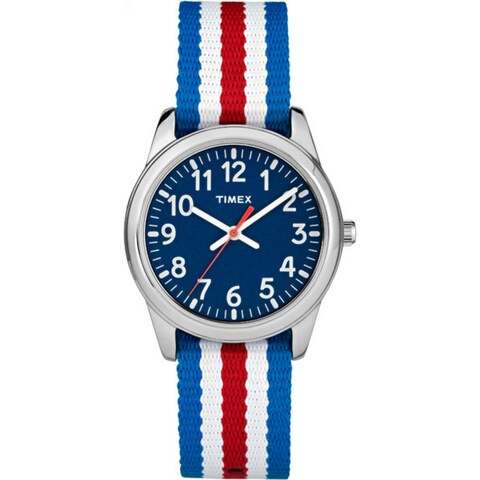 Timex Boys' TW7C09900 Time Machines Metal Red/White/Blue Stripes Elastic Fabric Strap Analog Watch