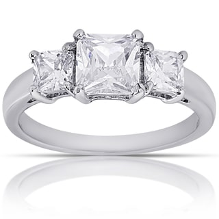 Dolce Giavonna Silver Overlay Square Cubic Zirconia Three-Stone Engagement Ring