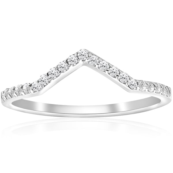 Shop 10k White Gold 1 5 Ct Tdw Diamond Curved V Shape Ring Stackable