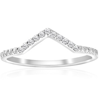 10k White Gold 1/5 ct TDW Diamond Curved V Shape Ring Stackable Wedding Band Womens Ring