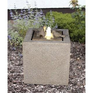 Zenvida Outdoor Sandstone Cube LED Lights Garden Fountain