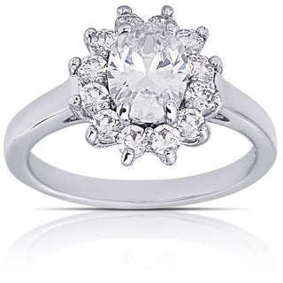Dolce Giavonna Silver Overlay Cubic Zirconia Oval Engagement Ring