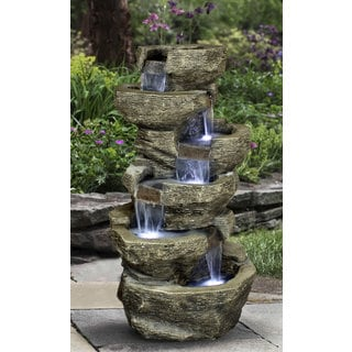 Zenvida Outdoor Tiered Rock Waterfall 39-inch Garden Fountain