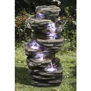 Zenvida Outdoor 32-inch Stone Cascading Waterfall Garden Fountain