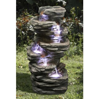 Zenvida Outdoor 32-inch Stone Cascading Waterfall Garden Fountain