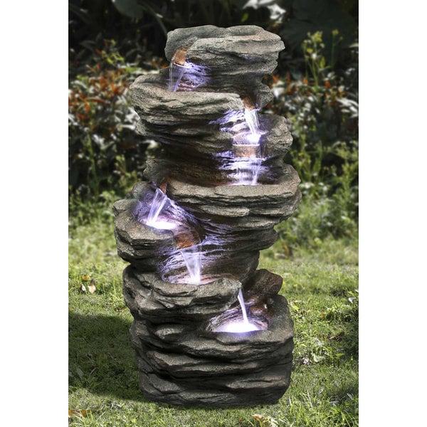 Zenvida Outdoor 32 Inch Stone Cascading Waterfall Garden Fountain