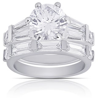 Dolce Giavonna Silver Overlay Cubic Zirconia Bridal Ring Set