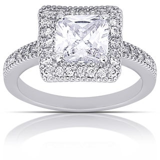 Dolce Giavonna Silver Overlay Cubic Zirconia Square Engagement Ring
