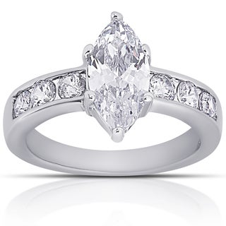 Dolce Giavonna Silver Overlay Cubic Zirconia Marquise-cut Engagement Ring