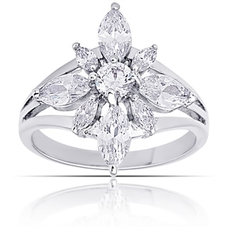 Dolce Giavonna Silver Overlay Cubic Zirconia Flower Design Ring